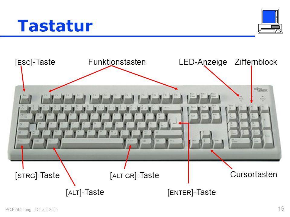 PC-Einführung - Dücker 2005 19 [ STRG ]-Taste[ ALT GR ]-Taste Cursortasten ZiffernblockFunktionstasten [ ALT ]-Taste[ ENTER ]-Taste LED-Anzeige [ ESC
