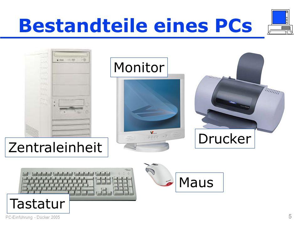 PC-Einführung - Dücker 2005 5 Bestandteile eines PCs Zentraleinheit Tastatur Drucker Maus Monitor