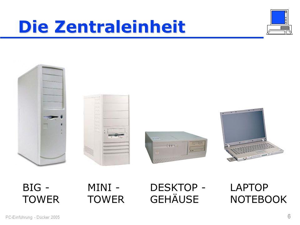 PC-Einführung - Dücker 2005 6 Die Zentraleinheit BIG - TOWER MINI - TOWER DESKTOP - GEHÄUSE LAPTOP NOTEBOOK