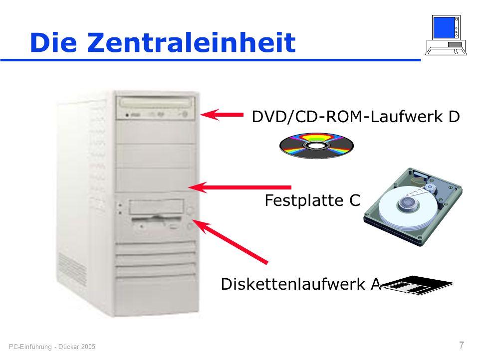 PC-Einführung - Dücker 2005 7 Die Zentraleinheit Diskettenlaufwerk A DVD/CD-ROM-Laufwerk D Festplatte C