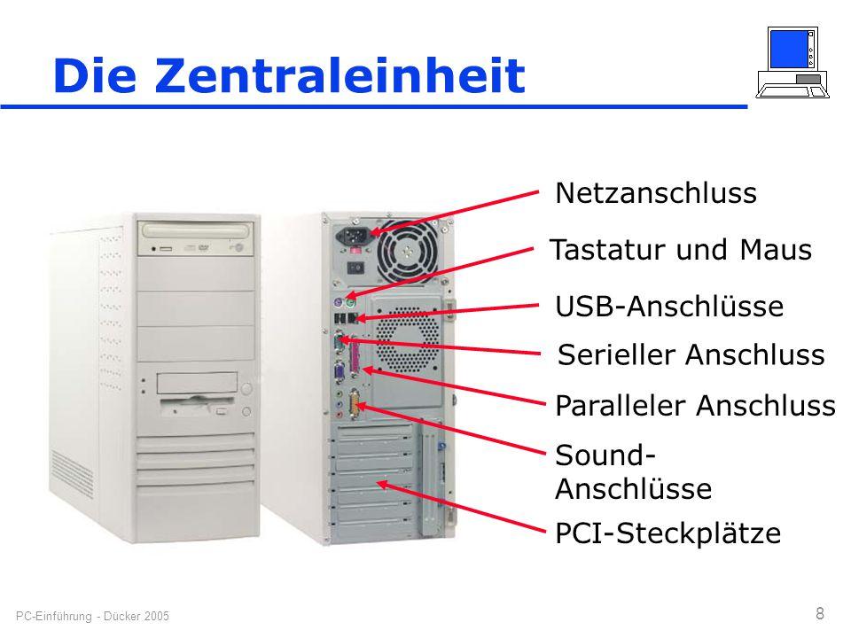 PC-Einführung - Dücker 2005 8 Die Zentraleinheit Netzanschluss Tastatur und Maus USB-Anschlüsse Serieller Anschluss Paralleler Anschluss Sound- Anschl