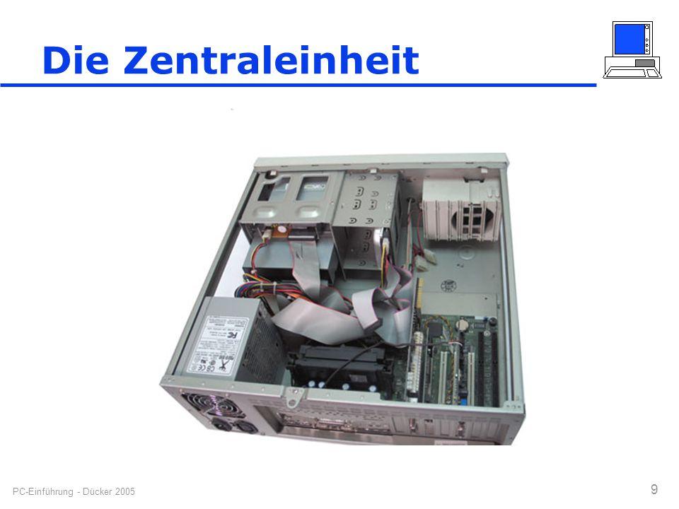 PC-Einführung - Dücker 2005 9 Die Zentraleinheit