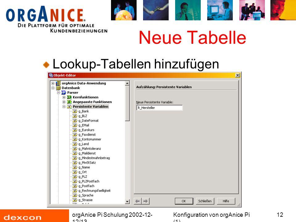 orgAnice Pi Schulung 2002-12- 12/13 Konfiguration von orgAnice Pi (1) 12 Neue Tabelle Lookup-Tabellen hinzufügen