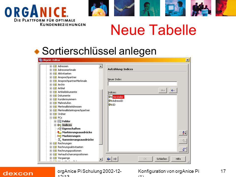orgAnice Pi Schulung 2002-12- 12/13 Konfiguration von orgAnice Pi (1) 17 Neue Tabelle Sortierschlüssel anlegen