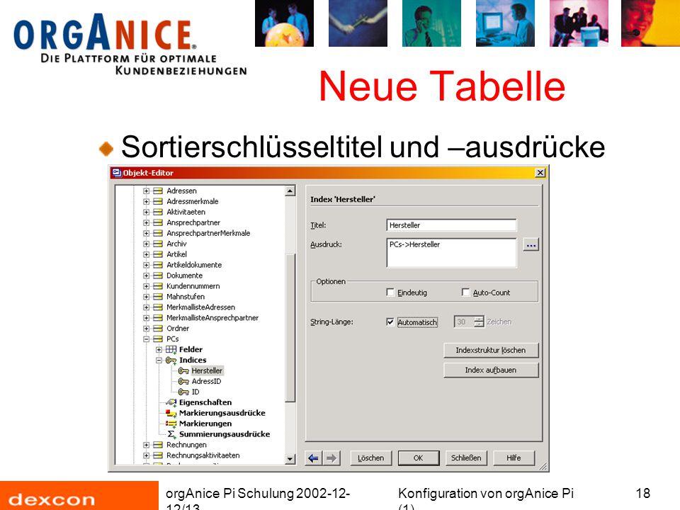orgAnice Pi Schulung 2002-12- 12/13 Konfiguration von orgAnice Pi (1) 18 Neue Tabelle Sortierschlüsseltitel und –ausdrücke
