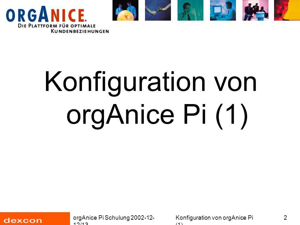 orgAnice Pi Schulung 2002-12- 12/13 Konfiguration von orgAnice Pi (1) 3 Überblick Erstellung einer neuen Tabelle Berechtigungen Dokumentvorlagen orgBasic