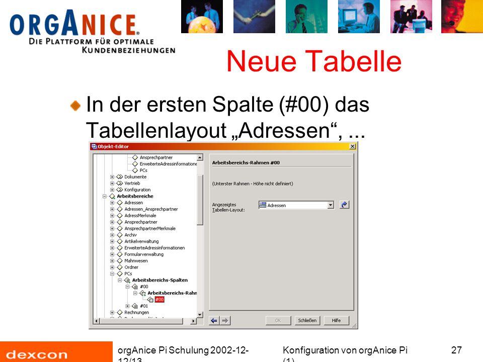 """orgAnice Pi Schulung 2002-12- 12/13 Konfiguration von orgAnice Pi (1) 27 Neue Tabelle In der ersten Spalte (#00) das Tabellenlayout """"Adressen"""",..."""