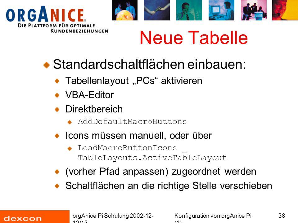 """orgAnice Pi Schulung 2002-12- 12/13 Konfiguration von orgAnice Pi (1) 38 Neue Tabelle Standardschaltflächen einbauen: Tabellenlayout """"PCs"""" aktivieren"""