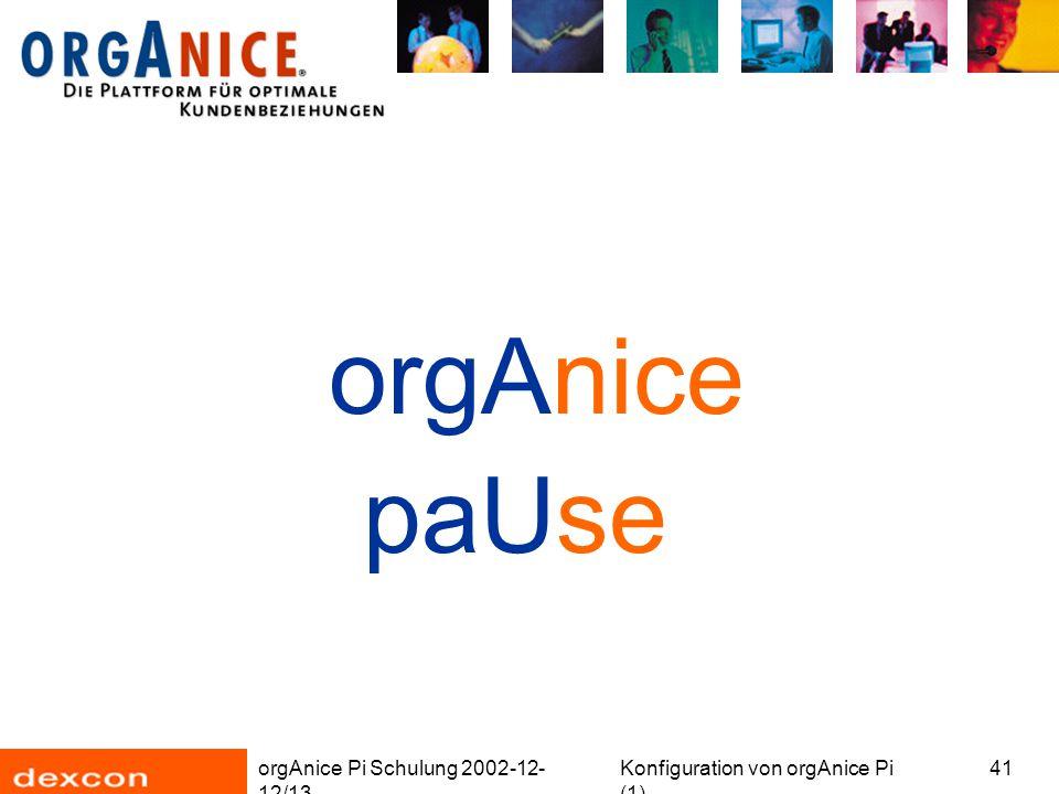 orgAnice Pi Schulung 2002-12- 12/13 Konfiguration von orgAnice Pi (1) 41 orgAnice paUse