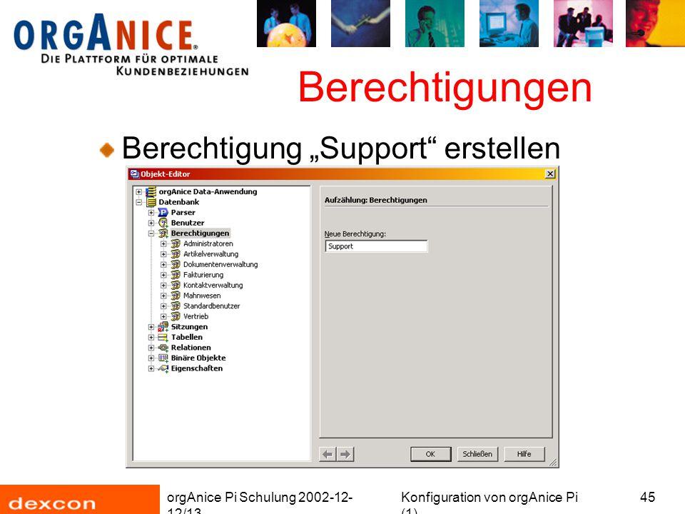 """orgAnice Pi Schulung 2002-12- 12/13 Konfiguration von orgAnice Pi (1) 45 Berechtigungen Berechtigung """"Support erstellen"""