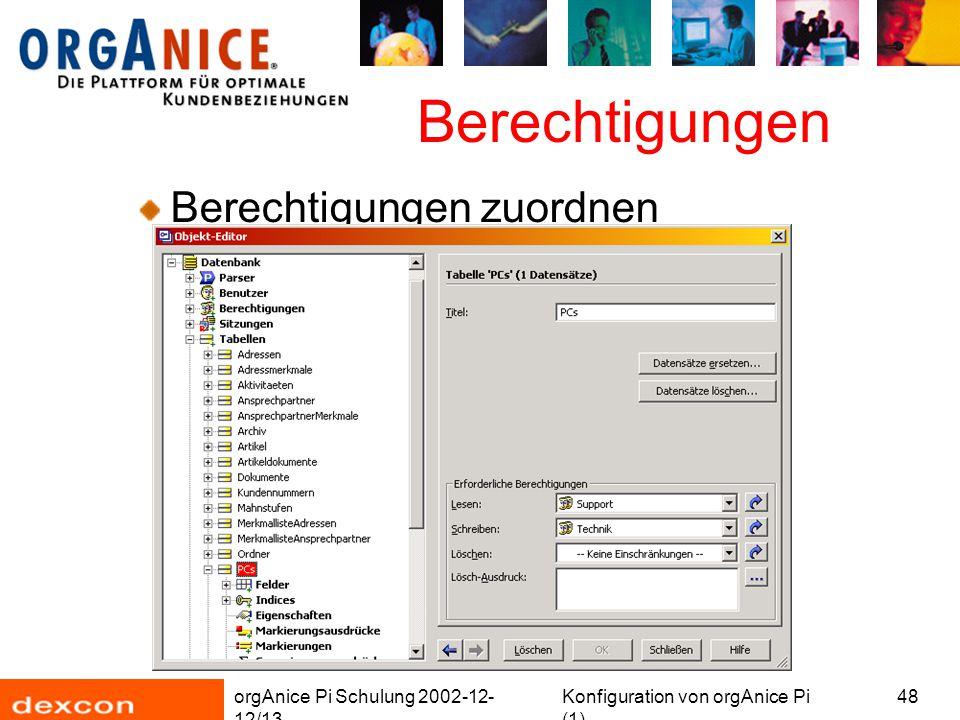 orgAnice Pi Schulung 2002-12- 12/13 Konfiguration von orgAnice Pi (1) 48 Berechtigungen Berechtigungen zuordnen