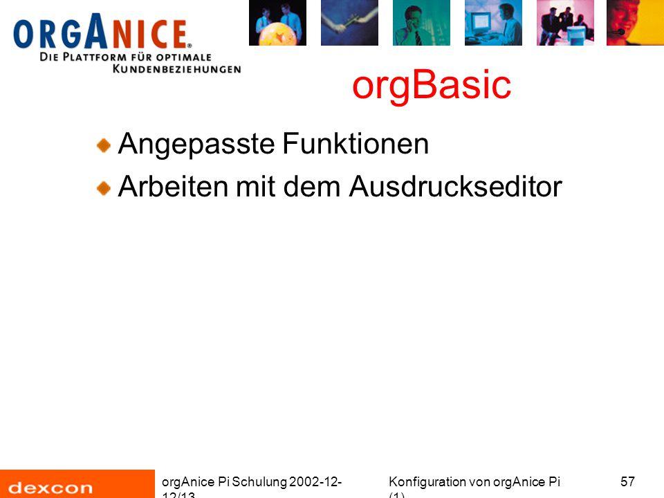 orgAnice Pi Schulung 2002-12- 12/13 Konfiguration von orgAnice Pi (1) 57 orgBasic Angepasste Funktionen Arbeiten mit dem Ausdruckseditor