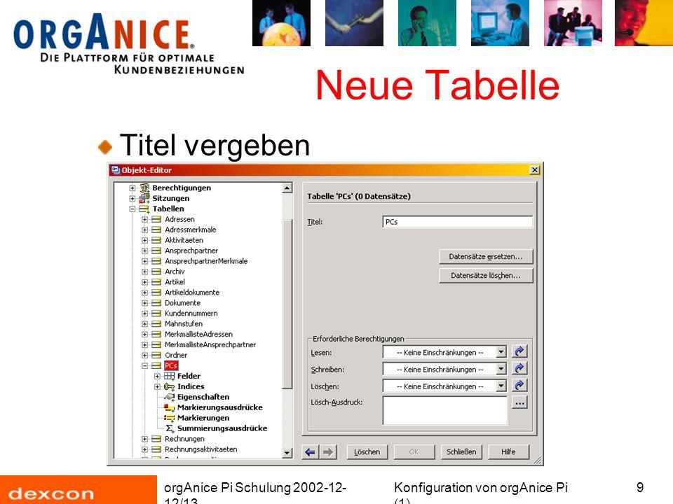 orgAnice Pi Schulung 2002-12- 12/13 Konfiguration von orgAnice Pi (1) 10 Neue Tabelle Felder hinzufügen