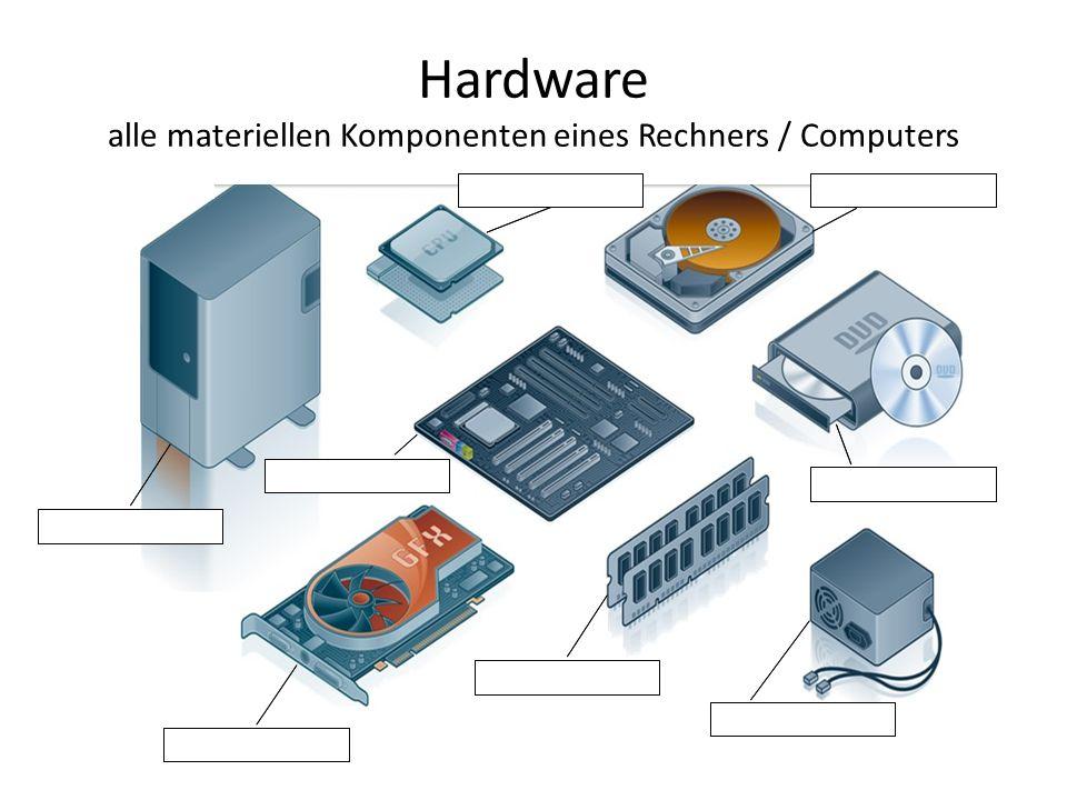 Hardware alle materiellen Komponenten eines Rechners / Computers