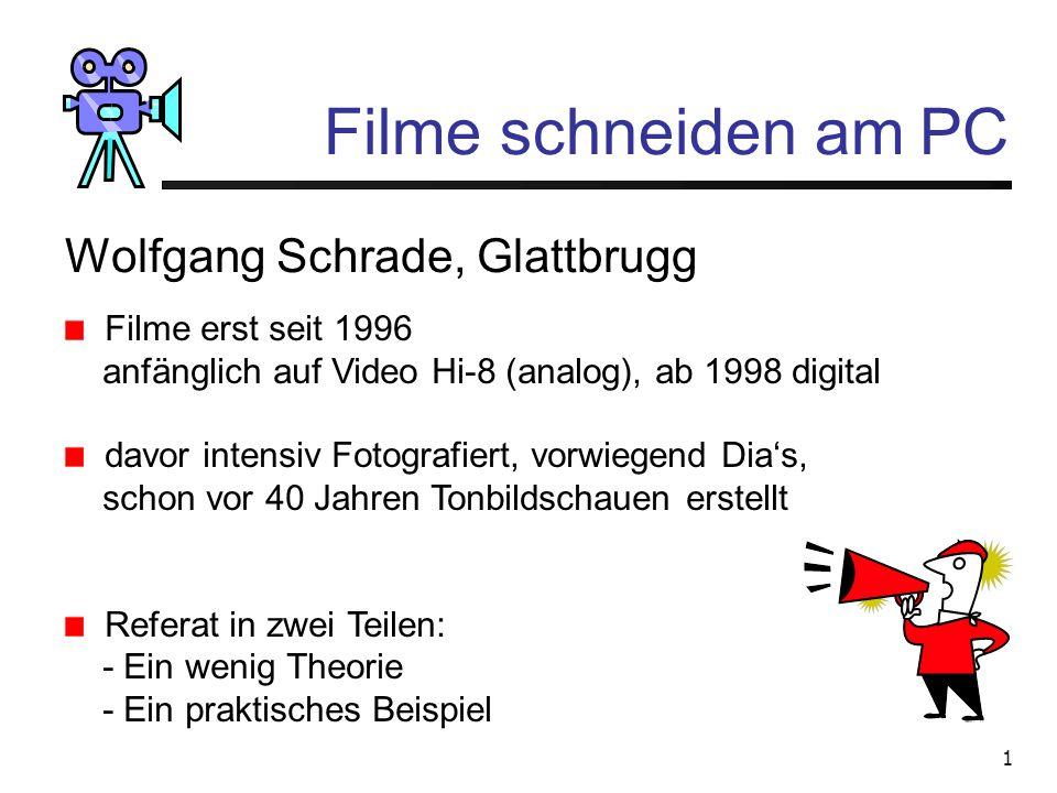 1 Filme schneiden am PC Wolfgang Schrade, Glattbrugg Filme erst seit 1996 anfänglich auf Video Hi-8 (analog), ab 1998 digital davor intensiv Fotografiert, vorwiegend Dia's, schon vor 40 Jahren Tonbildschauen erstellt Referat in zwei Teilen: - Ein wenig Theorie - Ein praktisches Beispiel