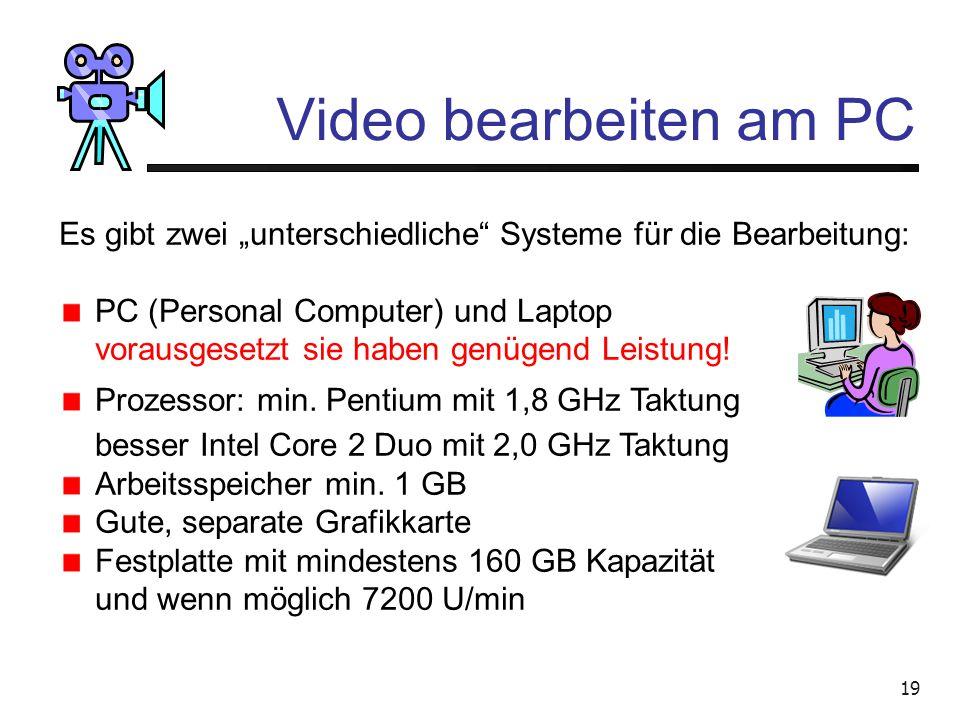 18 Video bearbeiten am PC Schön wär's, wenn's so einfach wäre! Wir brauchen Technik Wir brauchen Know-how Wir brauchen Geduld Aber wir Schaffen es !!!