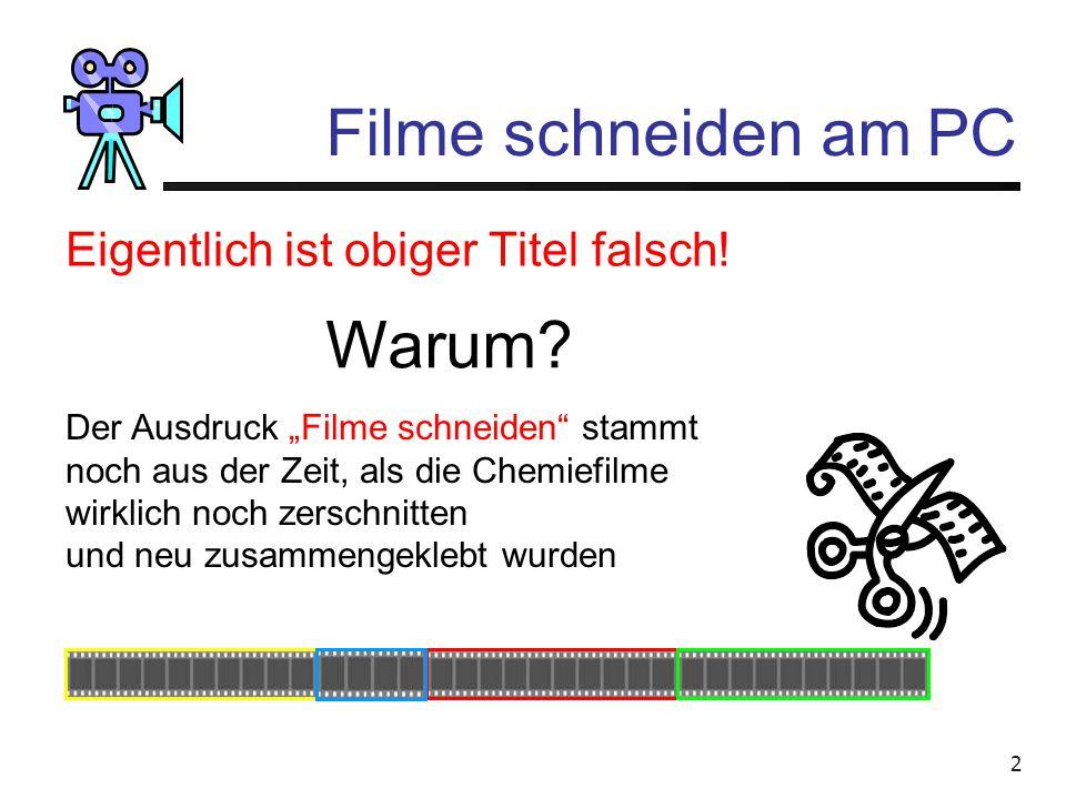1 Filme schneiden am PC Wolfgang Schrade, Glattbrugg Filme erst seit 1996 anfänglich auf Video Hi-8 (analog), ab 1998 digital davor intensiv Fotografi