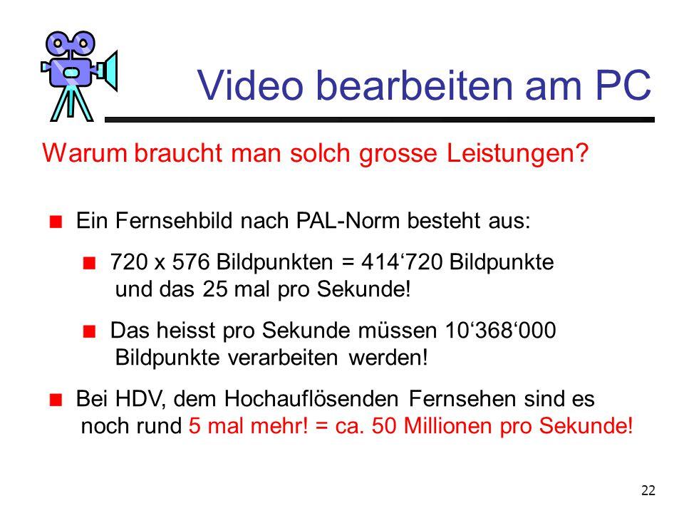 """21 Video bearbeiten am PC Lässt sich intuitiver bedienen als die PC-Programme """"Casablancas"""" Kosten in der Grund- Ausstattung je nach Typ 3000.- bis 65"""