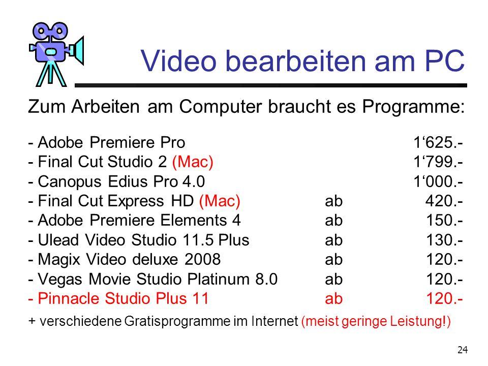 23 Video bearbeiten am PC Warum braucht man solch grosse Leistungen? 5 Minuten Film brauchen 1 Gigabyte auf der Festplatte! 1 GB = 1 Milliarde Byte =