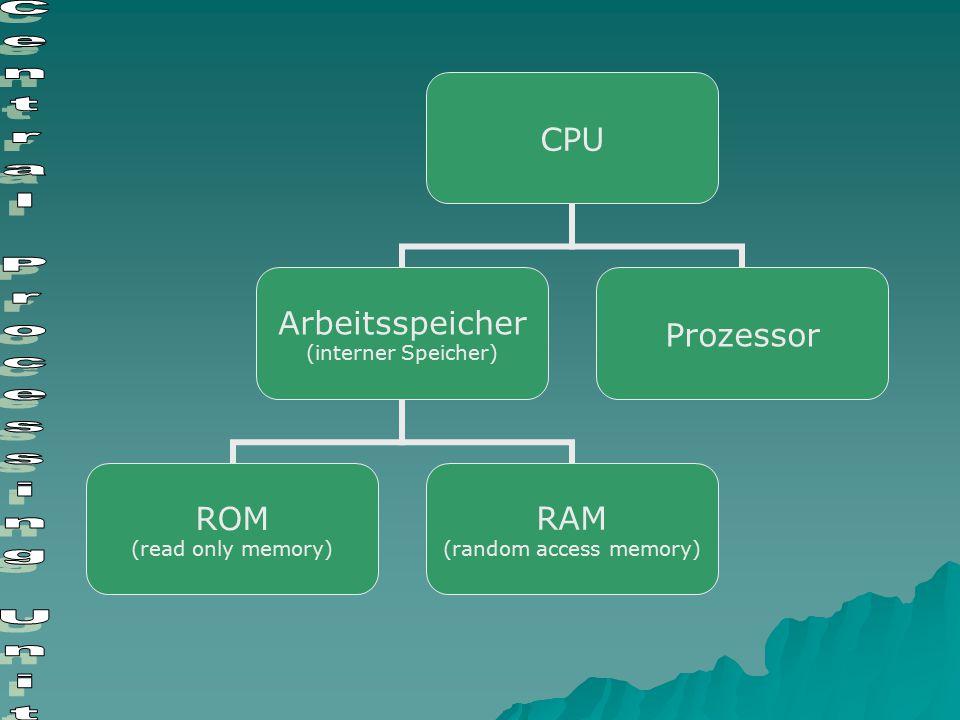Zentraleinheit  Ist das Herzstück eines Computers  Mikroprozessor überwacht einzelne Schritte und führt alle Berechnungen aus  Steuert den Datenfluss von den Eingaberäten bis zu den Ausgabegeräten (Bussystem)  Ist im Computer auf einer Platine untergebracht