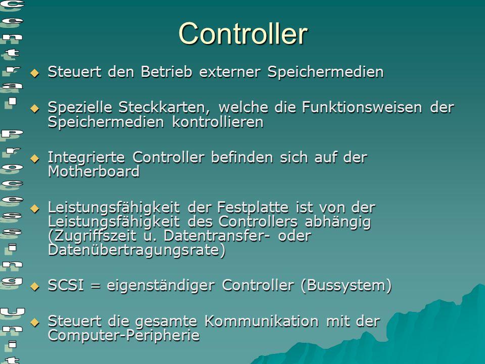 Controller  Steuert den Betrieb externer Speichermedien  Spezielle Steckkarten, welche die Funktionsweisen der Speichermedien kontrollieren  Integr