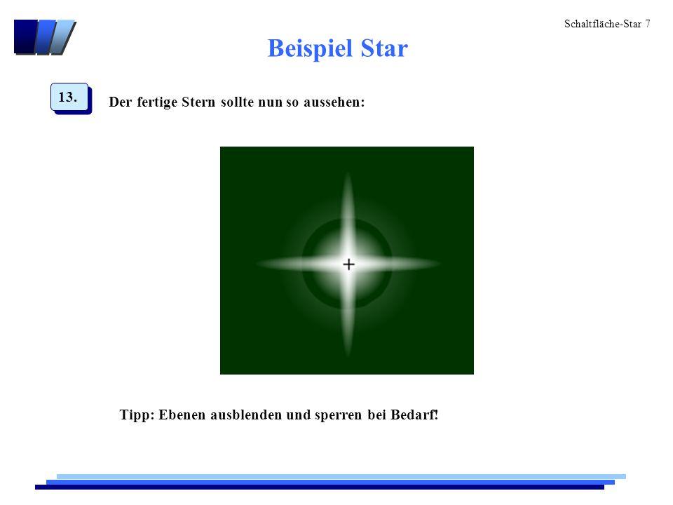 """Schaltfläche-Star 8 Beispiel Star Nun einen neuen Movieclip (""""mc_drehenderStern ) erzeugen und die Grafik """"Stern aus der Bibliothek(F11) auf den Movieclip ziehen."""