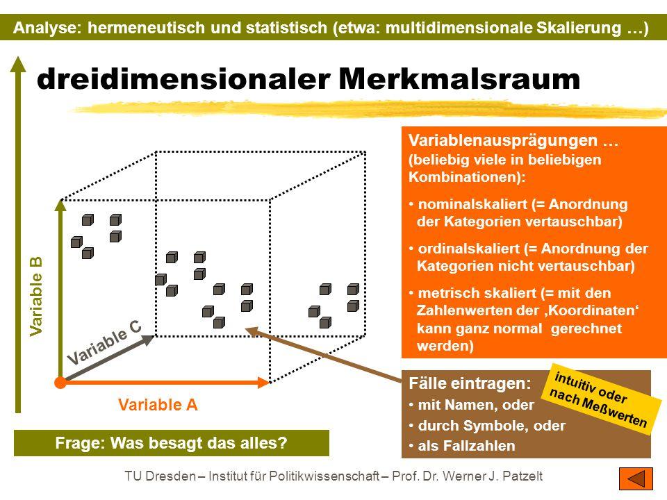 TU Dresden – Institut für Politikwissenschaft – Prof. Dr. Werner J. Patzelt dreidimensionaler Merkmalsraum Variablenausprägungen … (beliebig viele in