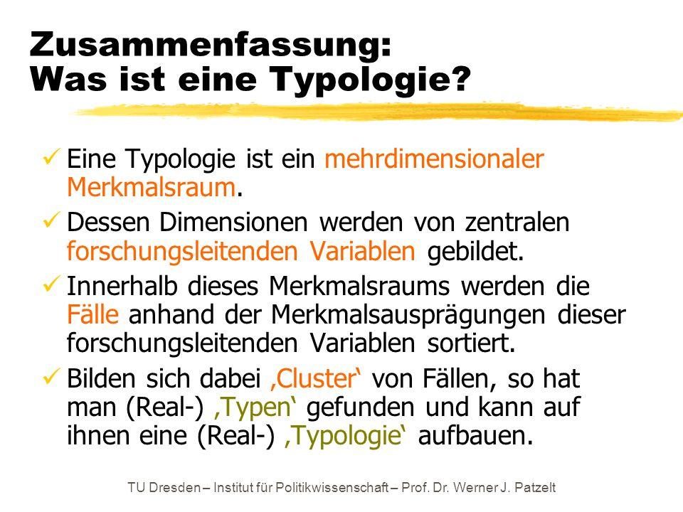 TU Dresden – Institut für Politikwissenschaft – Prof. Dr. Werner J. Patzelt Zusammenfassung: Was ist eine Typologie? Eine Typologie ist ein mehrdimens
