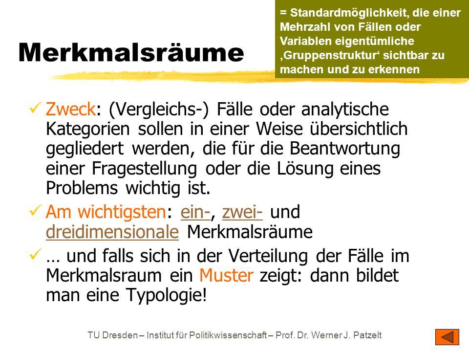 TU Dresden – Institut für Politikwissenschaft – Prof. Dr. Werner J. Patzelt Merkmalsräume Zweck: (Vergleichs-) Fälle oder analytische Kategorien solle