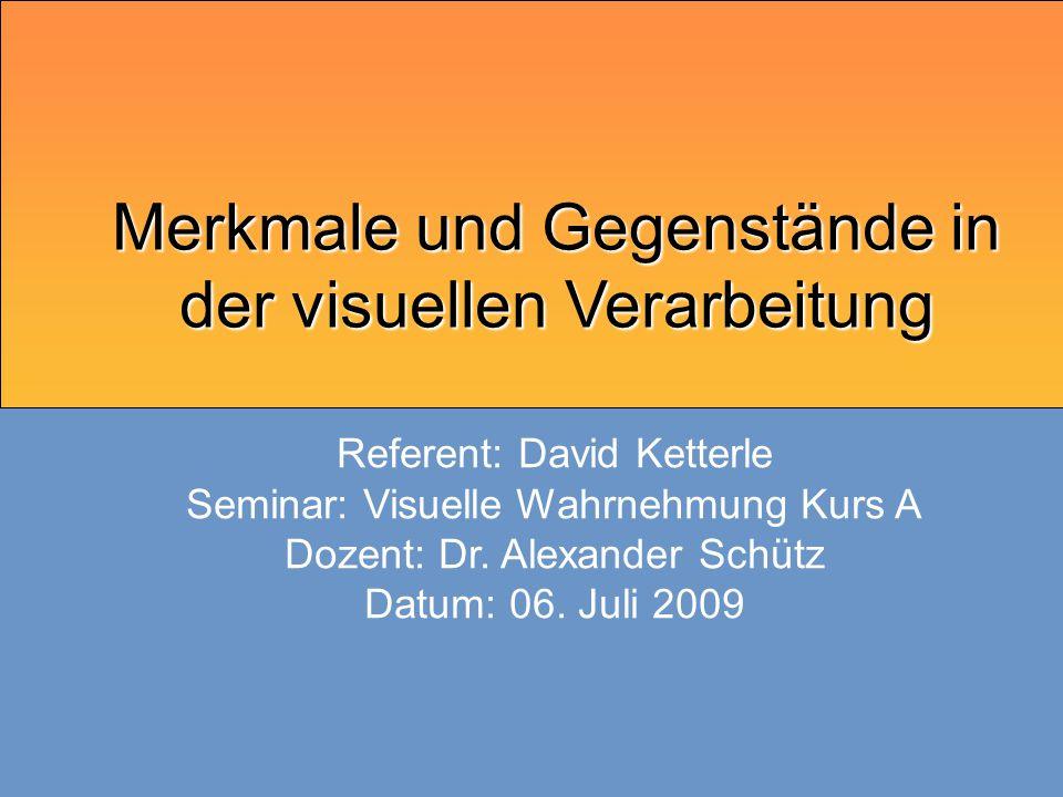 06.07.2009 Visuelle Wahrnehmung Merkmal Verknüpfung  Merkmale werden unabhänig voneinander wahrgenommen  Zusammensetztung zu Objekten erst mit Zuwendung von Aufmerksamkeit  Verarbeitungs- ebenen  Merkmals- klassen  Verknüpfungen  Forschungs- ergebnisse  Aufmerksamkeits- prozesse  Modell visueller Verarbeitung  Quellen