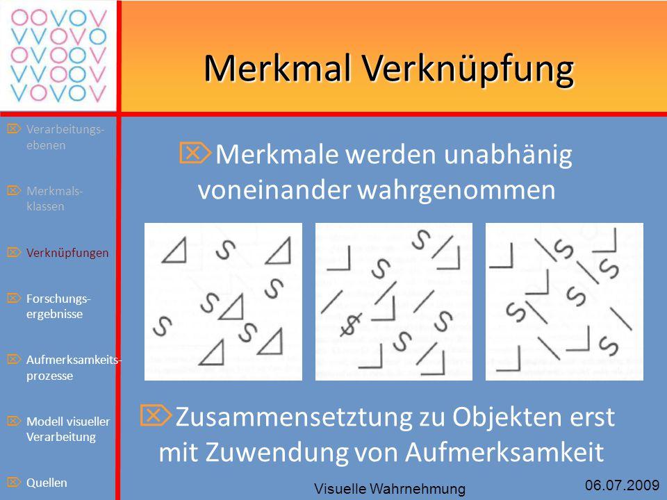 06.07.2009 Visuelle Wahrnehmung Merkmal Verknüpfung  Merkmale werden unabhänig voneinander wahrgenommen  Zusammensetztung zu Objekten erst mit Zuwen