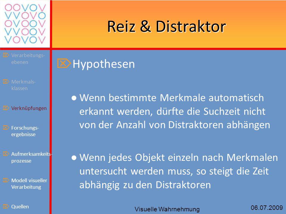 06.07.2009 Visuelle Wahrnehmung Reiz & Distraktor  Hypothesen ● Wenn bestimmte Merkmale automatisch erkannt werden, dürfte die Suchzeit nicht von der