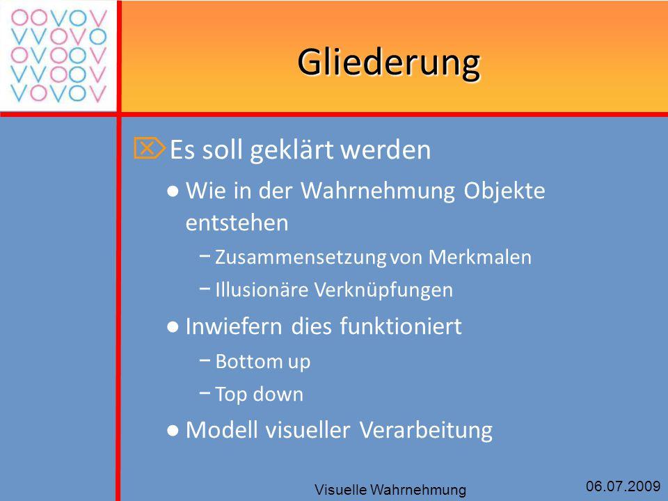 06.07.2009 Visuelle Wahrnehmung Gliederung  Es soll geklärt werden ● Wie in der Wahrnehmung Objekte entstehen − Zusammensetzung von Merkmalen − Illus