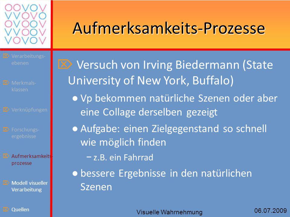 06.07.2009 Visuelle Wahrnehmung Aufmerksamkeits-Prozesse  Versuch von Irving Biedermann (State University of New York, Buffalo) ● Vp bekommen natürl