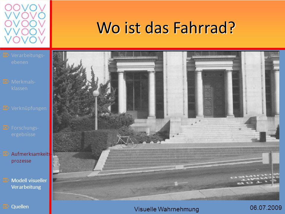 06.07.2009 Visuelle Wahrnehmung Wo ist das Fahrrad?  Verarbeitungs- ebenen  Merkmals- klassen  Verknüpfungen  Forschungs- ergebnisse  Aufmerksamk