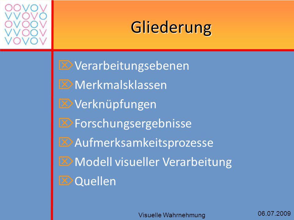 06.07.2009 Visuelle Wahrnehmung Gliederung  Verarbeitungsebenen  Merkmalsklassen  Verknüpfungen  Forschungsergebnisse  Aufmerksamkeitsprozesse 