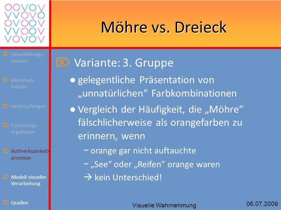 """06.07.2009 Visuelle Wahrnehmung Möhre vs. Dreieck  Variante: 3. Gruppe ● gelegentliche Präsentation von """"unnatürlichen"""" Farbkombinationen ● Vergleich"""