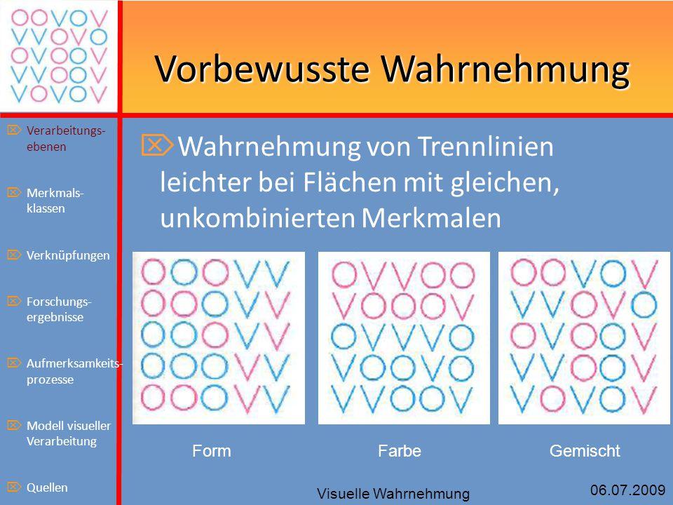 06.07.2009 Visuelle Wahrnehmung Vorbewusste Wahrnehmung  Wahrnehmung von Trennlinien leichter bei Flächen mit gleichen, unkombinierten Merkmalen Form