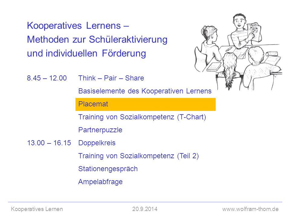 Kooperatives Lernen20.9.2014www.wolfram-thom.de Kooperatives Lernens – Methoden zur Schüleraktivierung und individuellen Förderung 8.45 – 12.00Think –