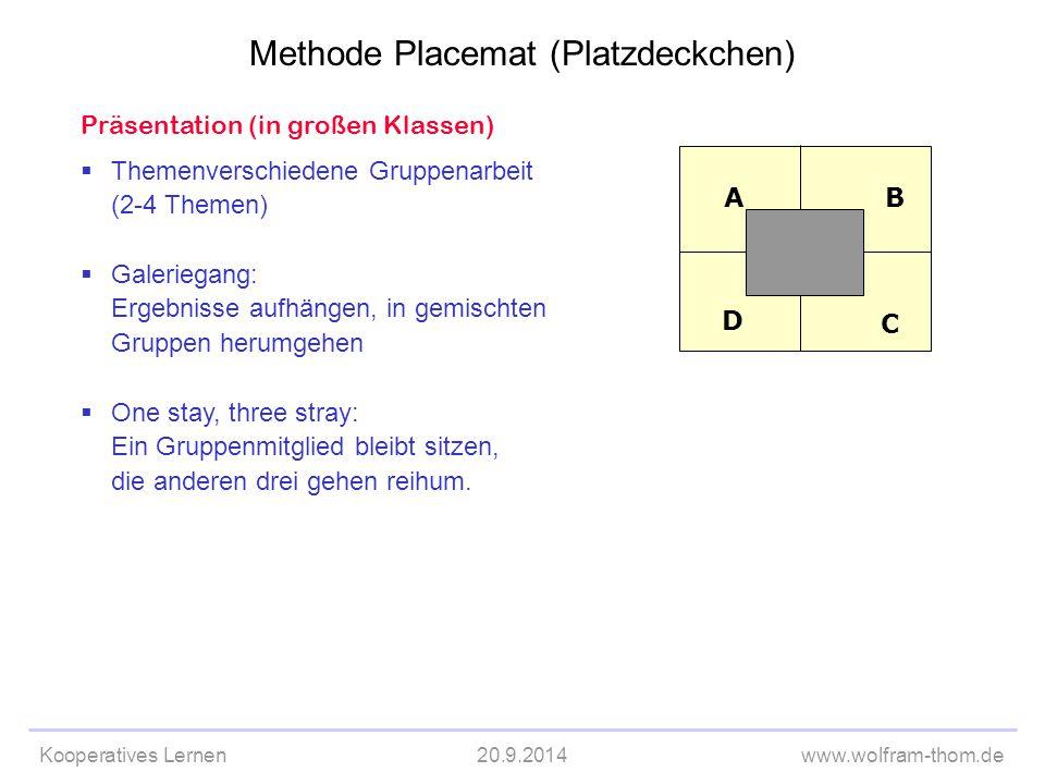 Kooperatives Lernen20.9.2014www.wolfram-thom.de Präsentation (in großen Klassen)  Themenverschiedene Gruppenarbeit (2-4 Themen)  Galeriegang: Ergebn