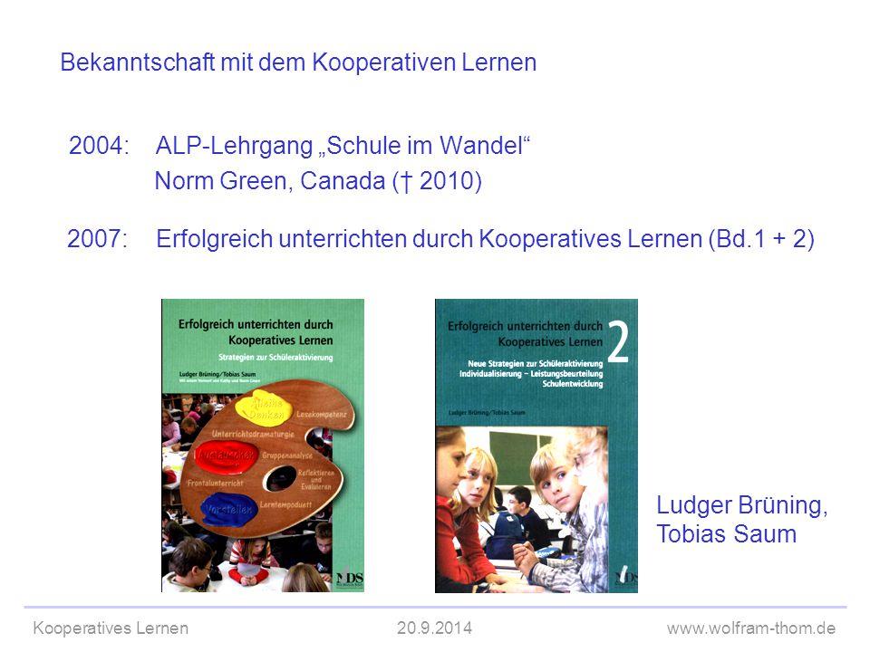 "Kooperatives Lernen20.9.2014www.wolfram-thom.de Bekanntschaft mit dem Kooperativen Lernen 2004:ALP-Lehrgang ""Schule im Wandel"" Norm Green, Canada († 2"
