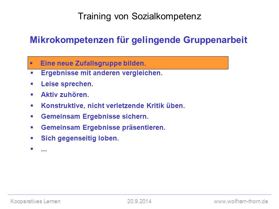 Kooperatives Lernen20.9.2014www.wolfram-thom.de Mikrokompetenzen für gelingende Gruppenarbeit  Ergebnisse mit anderen vergleichen.  Leise sprechen.