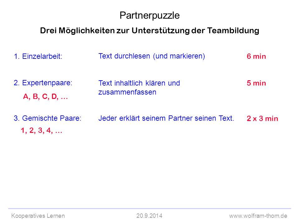 Kooperatives Lernen20.9.2014www.wolfram-thom.de Drei Möglichkeiten zur Unterstützung der Teambildung 1. Einzelarbeit: 2. Expertenpaare: 3. Gemischte P