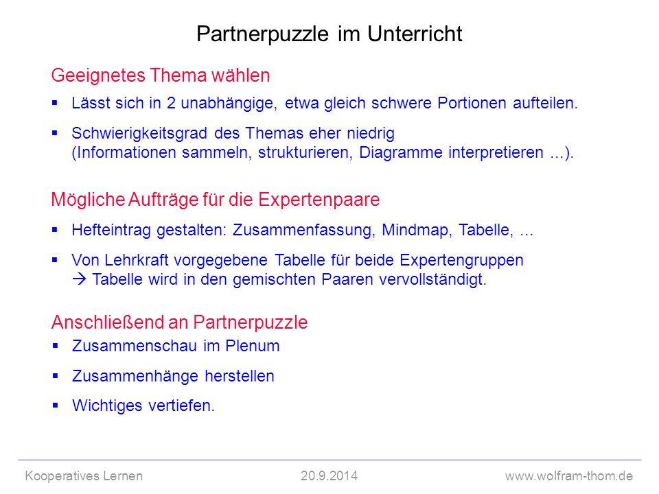 Kooperatives Lernen20.9.2014www.wolfram-thom.de Geeignetes Thema wählen  Lässt sich in 2 unabhängige, etwa gleich schwere Portionen aufteilen.  Schw
