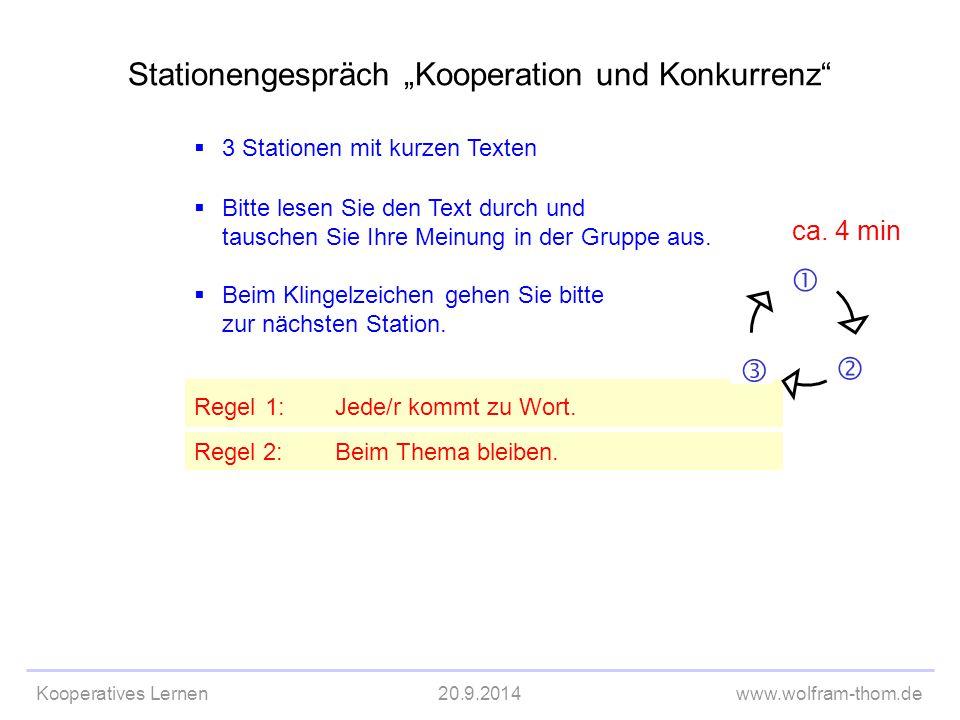 """Kooperatives Lernen20.9.2014www.wolfram-thom.de  3 Stationen mit kurzen Texten Stationengespräch """"Kooperation und Konkurrenz""""  Bitte lesen Sie den T"""