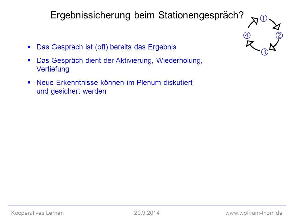 Kooperatives Lernen20.9.2014www.wolfram-thom.de  Das Gespräch ist (oft) bereits das Ergebnis  Das Gespräch dient der Aktivierung, Wiederholung, Vert