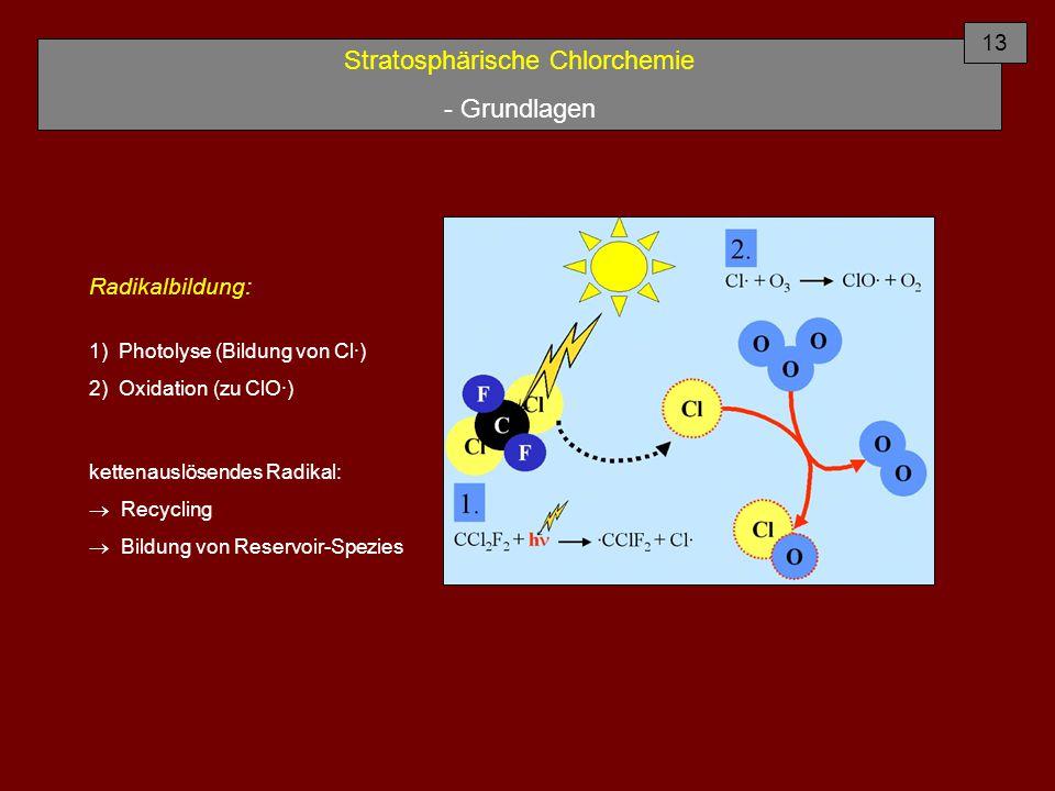 Stratosphärische Chlorchemie - Grundlagen Radikalbildung: 1) Photolyse (Bildung von Cl·) 2) Oxidation (zu ClO·) kettenauslösendes Radikal:  Recycling  Bildung von Reservoir-Spezies 13