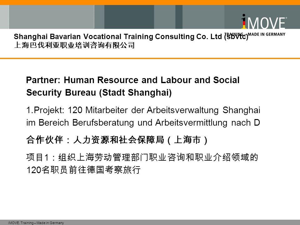 iMOVE. Training – Made in Germany Shanghai Bavarian Vocational Training Consulting Co. Ltd (sbvtc) 上海巴伐利亚职业培训咨询有限公司 Partner: Human Resource and Labour
