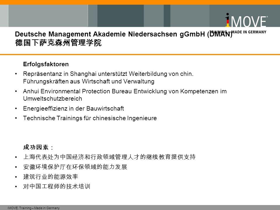 iMOVE. Training – Made in Germany Deutsche Management Akademie Niedersachsen gGmbH (DMAN) 德国下萨克森州管理学院 Erfolgsfaktoren Repräsentanz in Shanghai unterst