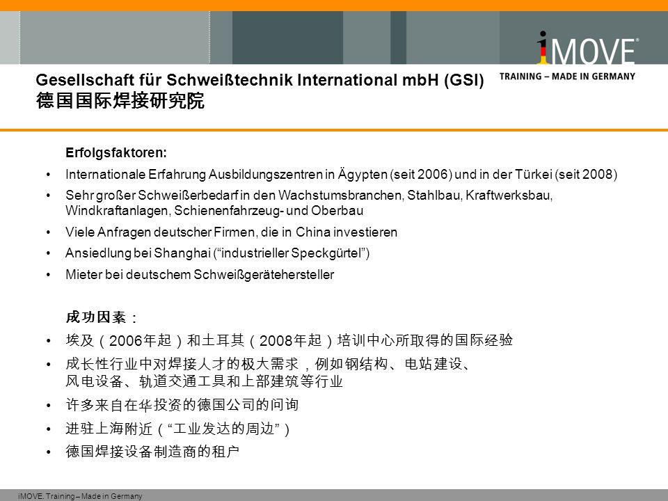 iMOVE. Training – Made in Germany Gesellschaft für Schweißtechnik International mbH (GSI) 德国国际焊接研究院 Erfolgsfaktoren: Internationale Erfahrung Ausbildu